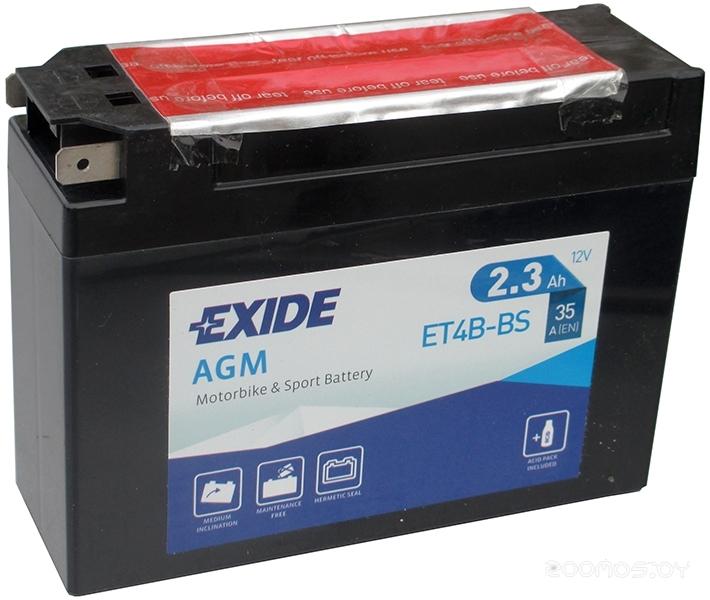 Мотоциклетный аккумулятор Exide AGM ET4B-BS (2.3 А/ч)
